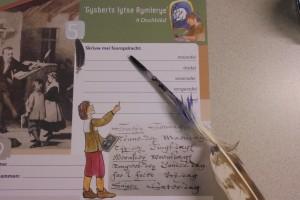 Opdracht: Schrijf met een ganzenveer op je doelbad